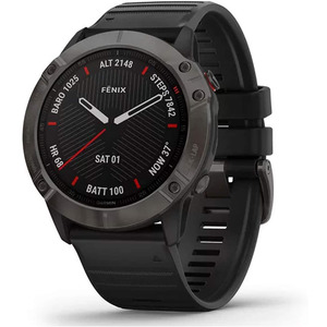 Garmin – Fenix 6X Sapphire, carbon Gray DLC avec bracelet noir