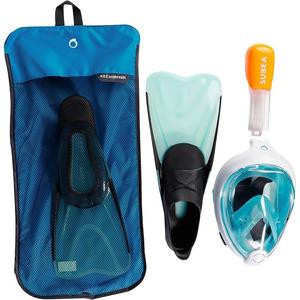 Decathlon – Kit Masque easybreath palmes bleu turquoise T38/39