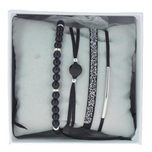 Les Interchangeables – Strass box 4 bracelets Noir/palladium – A56393