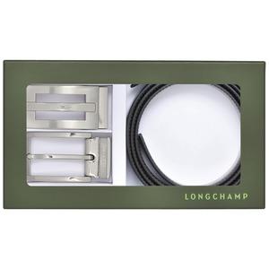 Longchamp – Coffret ceinture réversible noir/moka 2 boucles Delta Box