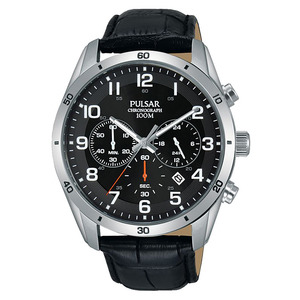 Pulsar – Montre H sport 43 mm inox/noir bracelet cuir noir PT3833X1